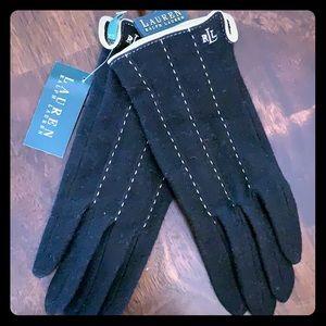 Ralph Lauren black wool/cashmere blend gloves